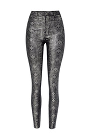 Snake Shaped Slim Leather Pants