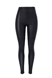 High Waist Solid Leather Pants