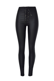 Zipper Metal Strap Leather Pants