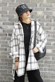 Lapel Thickening Brushed Plaid Cardigan