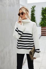 Stripe Stitching  Large-Sleeved Sweater