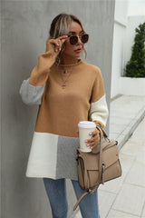 Stitching Color Block Round Collar Sweater