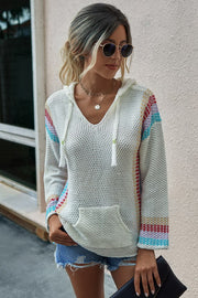 Hooded long-sleeved pullover