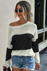 Loose round neck long sleeve sweater