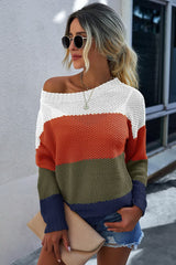 Striped long-sleeved sweaters