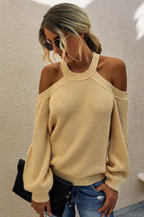 Solid color off-the-shoulder knit sweater