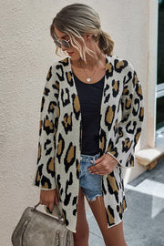 Leopard print long cardigan sweater