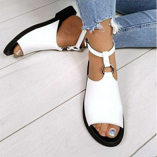 Leather Buckle Strap Beach Shoes