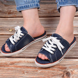 Canvas Lace Up Open Toe Slippers