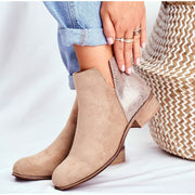 Suede PU Ankle Zipper Boots