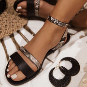 Narrow Band Leather Snake Print Sandals