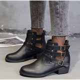 Breathable Square Heels Hollow Out Ankle Boots