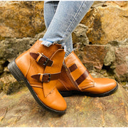 Cone Heels Buckle Strap Ankle Boots