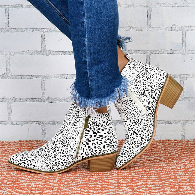 Zipper Thick Heel Ankle Boots