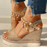 Bead Studded Platform Wedge Sandals