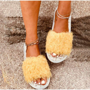 Warm Short Furry Plush Indoor Slippers