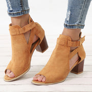 Flock Square Heel Square Sandals