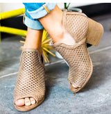 High Heels Hollow Fish Mouth Wedge Sandals
