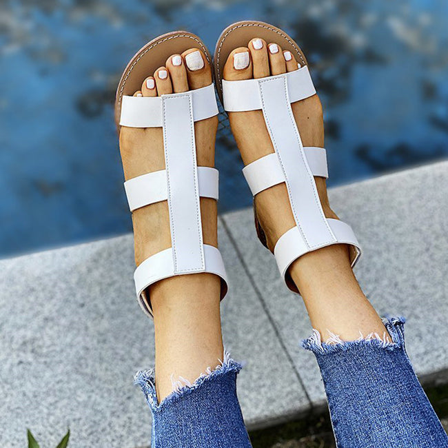 Ankle Hook & Loop Flat Sandals