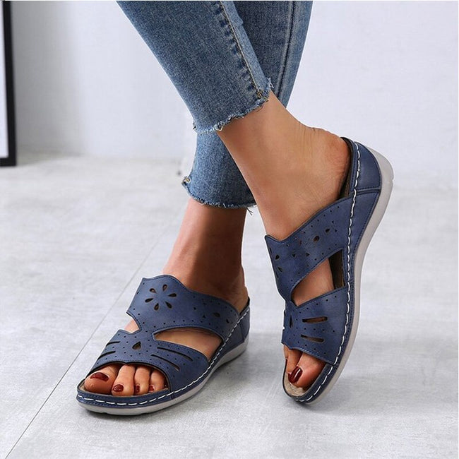 Slip On Sewing Open Toe Wedge Slippers