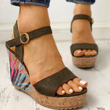 Ankle-strap Leaf Print Wedges Sandals - Pavacat