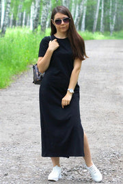 Black Bodycon Maxi T Shirt Dress - Pavacat