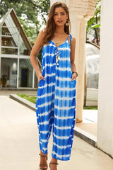 Blue V Neck Sleeveless Casual Jumpsuit - Pavacat