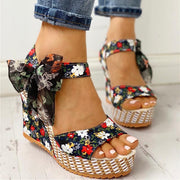 Bohemian Flowers Knot Leisure Wedges Sandals - Pavacat