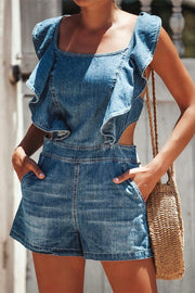 Butterfly in Midsummer Jeans Romper - Pavacat
