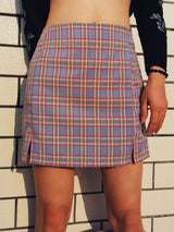 Cara Plaid Bodycon Split Skirt - Pavacat