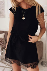 Casual Lace Short-sleeved Dress - Pavacat