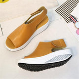 Casual Microfiber Leather Wedge Heel Magic Tape Sandals Shoes - Pavacat