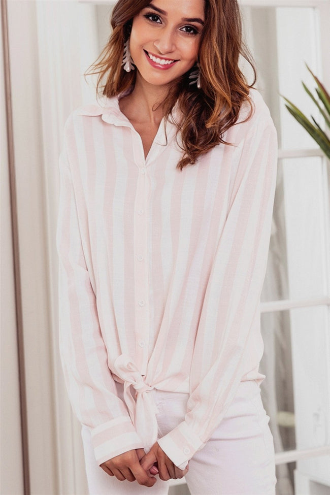 Casual Striped Front Knot Shirt - Pavacat