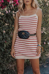 Casual Striped Strap Short Dress - Pavacat