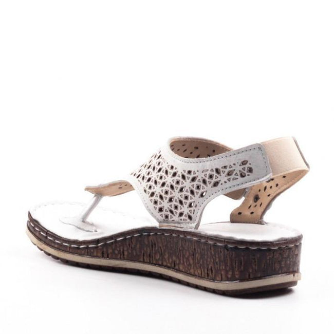 Casual Summer Thong Hollow Out Slingback Wedge Sandals - Pavacat