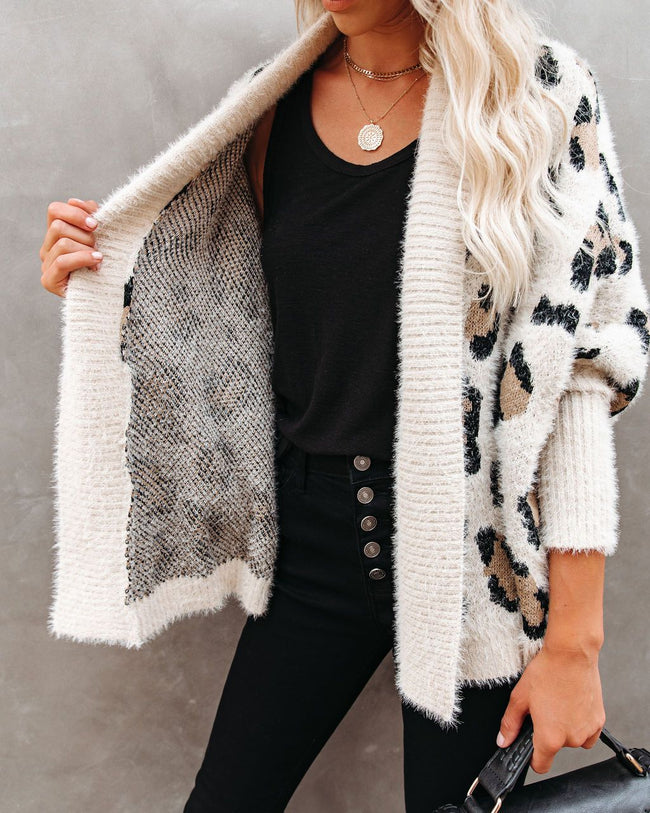 Leopard Print Relaxed Knitted Cardigan