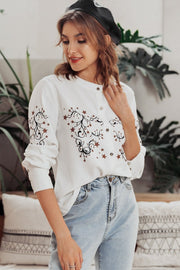 Chic O-neck Floral Print Blouse Shirt - Pavacat