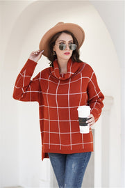 Chic Turtleneck Loose Plaid Sweater - Red - Pavacat