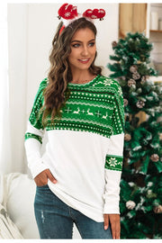Christmas Color Block Print Sweatshirt - Pavacat