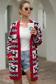 Christmas Deer Medium Length Sweater Cardigan - Red - Pavacat