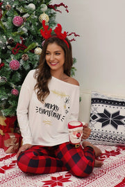 Christmas Plaid Top With Pants Leisure Wear Set - Pavacat