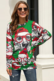 Christmas Printed Round Neck Sweater - Pavacat
