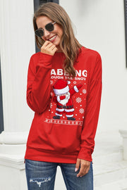 Christmas Printed Round Neck Sweater Red - Pavacat