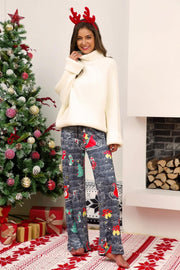 Christmas Printed Wide Leg Pants - Pavacat