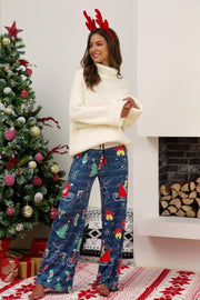 Christmas Printed Wide Leg Pants - Blue - Pavacat