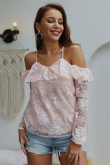 Cold Shoulder Long-sleeved Lace Blouse - Pavacat