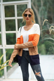 Color Block Double Pockets Cardigan - Pavacat