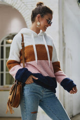 Color Block Drawstring Furry Hoodie - Pavacat