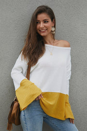 Color Block Flare Sleeve Loose Sweater - Pavacat