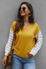 Color Block Lantern Sleeve Sweater - Pavacat